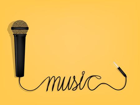 diseño gráfico de la música, alambre de micrófono como forma alfabeto música