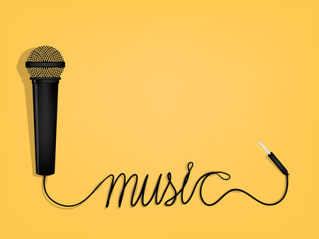 electronic background: graphic design of music,microphones wire as music alphabet form Illustration
