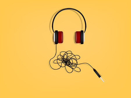 mess: beautiful graphic design of headphone has the problem of tangled wires