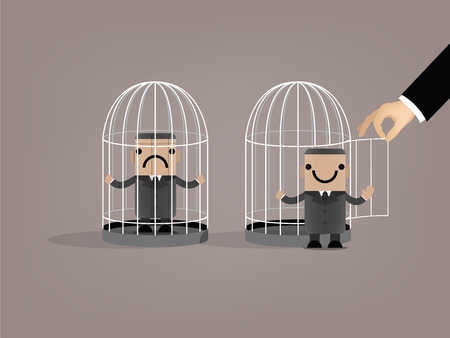 man in jail: business man was released from birdcage,beautiful graphic design of business man in the birdcage