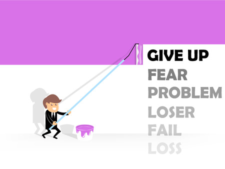 give up: business man painting color on negative word; give up, fear, problem, loser, fail and loss, concept design of positive thinking