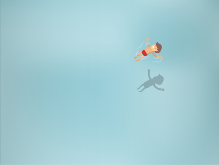 man underwater: beautiful graphic design of man floating in transparent sea