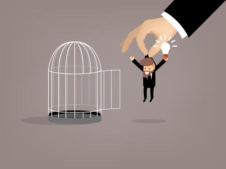 trabajando duro: diseño gráfico del hombre de negocios que escapó de la jaula de pájaros por buena idea, hermosa concepto de diseño gráfica de la idea Vectores