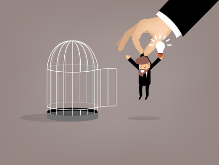 escaped: graphic design of business man escaped from birdcage by good idea, beautiful graphic design concept of idea