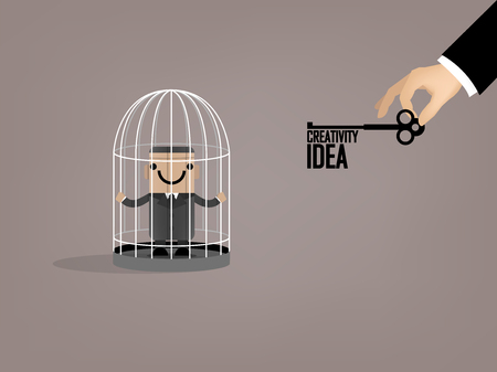 graphic design of business man escaped from birdcage by idea key, beautiful graphic design concept of idea Vektoros illusztráció