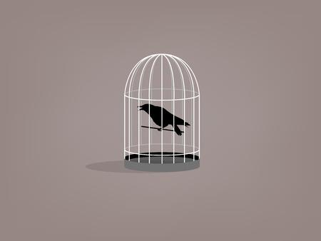 birdcage: beautiful graphic design of crow in birdcage Illustration