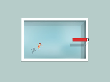 beautiful graphic design of man floating in swimming pool with spring board,graphic design of swimming pool