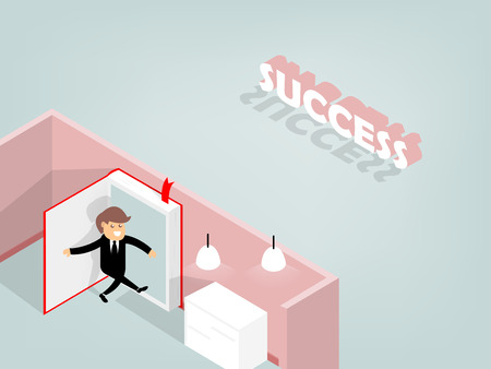 book concept: graphic design of man opening the book to go trough success, beautiful graphic design concept of book
