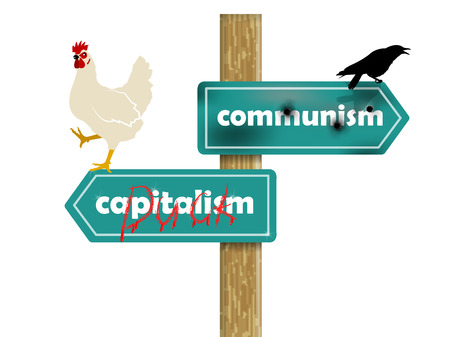 sign post: graphic design concept of communism and capitalism Illustration