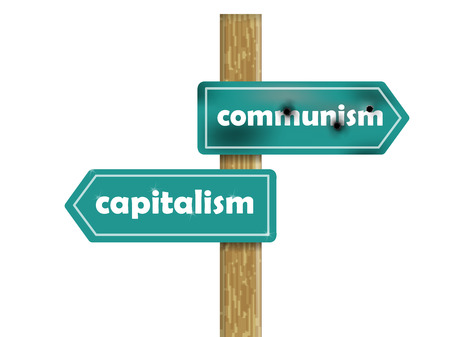 communism: graphic design concept of communism and capitalism Illustration