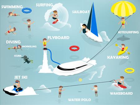 수영, 제트 스키, 카약, 요트, flyboard, 카이트 서핑, 웨이크 보드, 다이빙, 여름의 디자인 개념으로 해변에서 여름 활동의 아름다운 그래픽 디자인