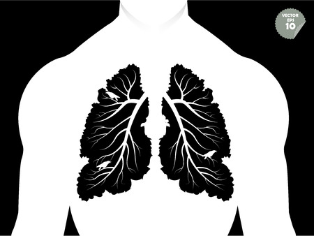 environmental pollution: beautiful graphic design concept of lungs like the branch of tree and leaf,conceptual graphic of human lungs like tree