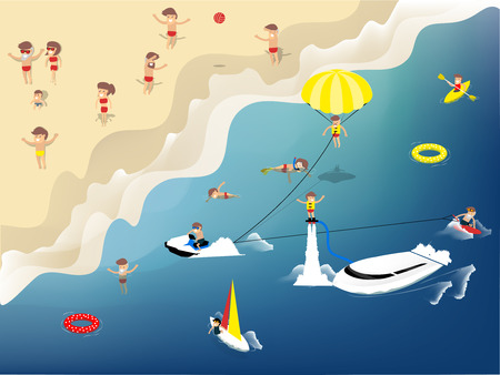 diving board: beautiful graphic design of summer activities on the beach such as swimming, jet ski, kayak, sailboat, flyboard, kitesurfing, wakeboard and diving,design concept of summer