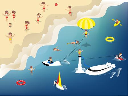 moto acuatica: diseño gráfico hermoso de actividades de verano en la playa, como la natación, jet ski, kayak, velero, Flyboard, kitesurf, wakeboard y el buceo, el concepto de diseño de verano