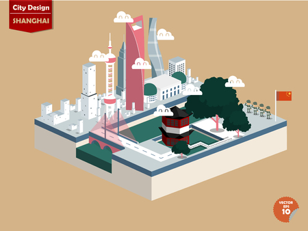 beautiful isometric design of Shanghai city China,Shanghai city design in perspective,cute design of Shanghai city