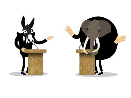 political party: beautiful conceptual graphic design of debate Illustration