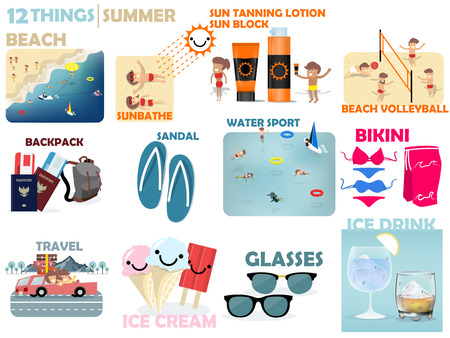 sun tanning: beautiful graphic design of 12 things of summer on the beach Illustration