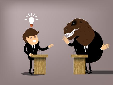hermoso diseño gráfico conceptual del debate, el traje de vestir de hombre que tiene la buena idea de debatir con los dinosaurios, la comparación entre progresistas y conservadores