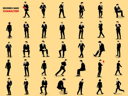 beautiful graphic design of set of businessman character