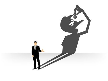 corporate greed: conceptual of businessman casting a shadow shaped like devil that eating dollar, businessman shadow shaped concept design Illustration