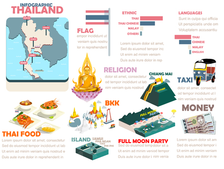 thailand flag: beautiful info graphic design of Thailand Illustration