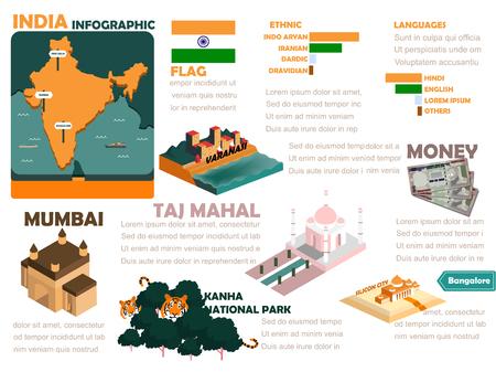 bandera de la india: hermoso informaci�n de dise�o gr�fico de la India Vectores