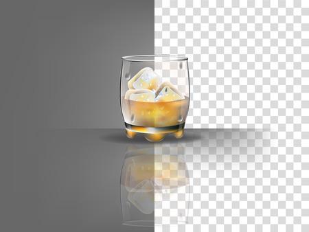 氷とウイスキー ベクトル透明な背景に現実的な美しいウィスキー グラス