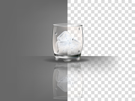 ice surface: realistic beautiful whiskey glass with ice cubes vector on transparent background