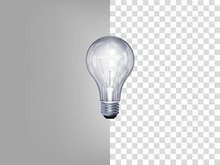 透明な背景に電球の美しいリアルなイラスト  イラスト・ベクター素材