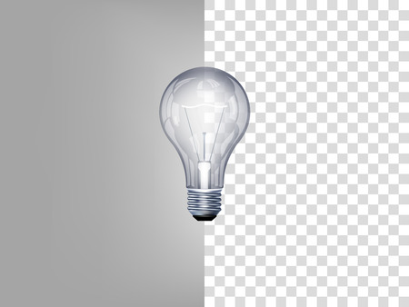 beautiful realistic illustration of light bulb on transparent background Vettoriali
