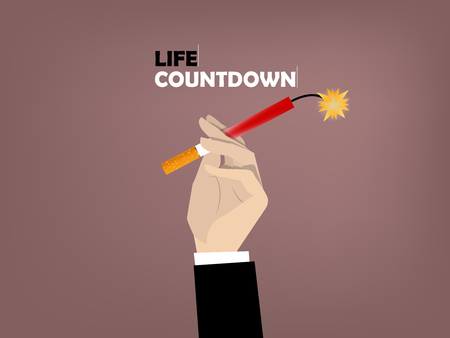 narcotics: beautiful design conceptual of hand holding cigarette with text life countdown Illustration