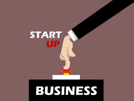 red button: businessman hand pressing start button on business, business start conceptual
