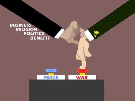 man of war: politician holding military man hand for pressing war button,the conceptual of modern war