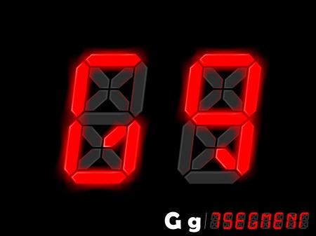 segmentar: diseño gráfico vectorial de siete segmentos de estilo alfabeto - G y G