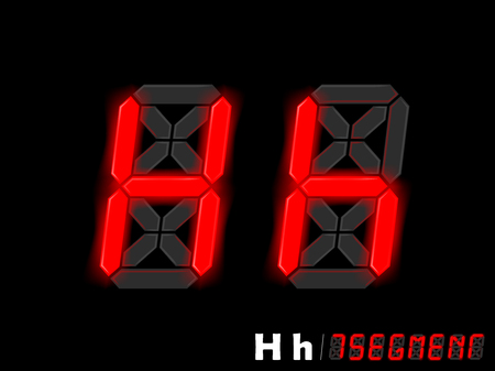 segment: graphic design vector of seven segment style alphabet - H and h Illustration