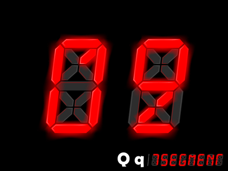 segmentar: diseño gráfico vectorial de siete segmentos de estilo alfabeto - Q y Q