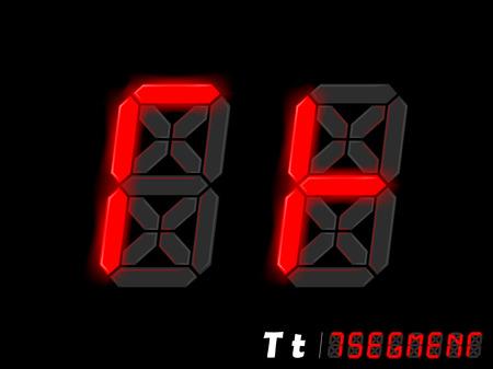 segmentar: diseño gráfico vectorial de siete segmentos de estilo alfabeto - T y T