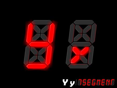 segmentar: diseño gráfico del vector del alfabeto de estilo de siete segmentos - Y e Y