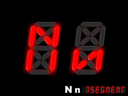 segment: graphic design vector of seven segment style alphabet - N and n