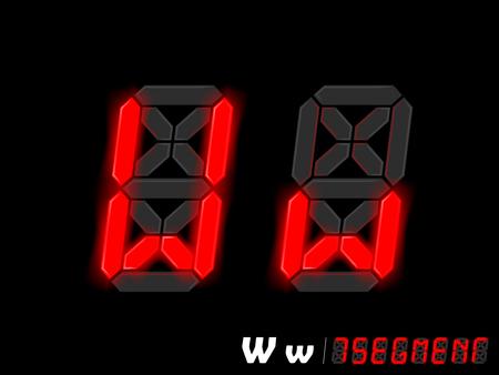 segmento: dise�o gr�fico vectorial de siete segmentos de estilo alfabeto - W y w
