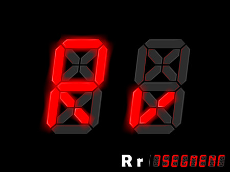typo: graphic design vector of seven segment style alphabet - R and r,seven segment typo design Illustration