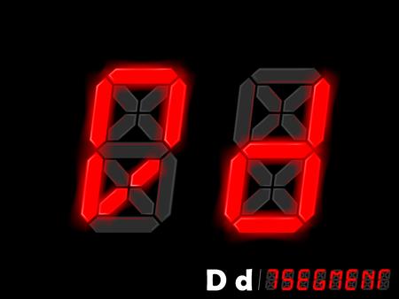 segment: graphic design vector of seven segment style alphabet - D and d Illustration