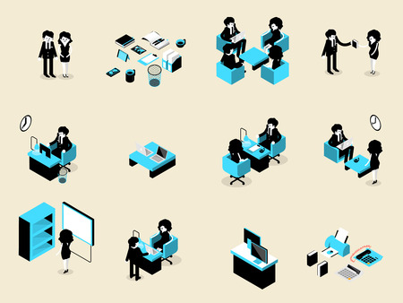 situation: beautiful isometric design of set of business people male and female in each situation, business isometric design concept Illustration