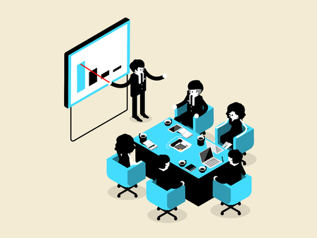 situation: beautiful isometric design of business people male and female in meeting and presentation situation, business isometric design concept