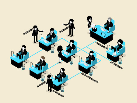 beautiful isometric design of business people male and female in organization chart concept, business isometric design concept Ilustracja