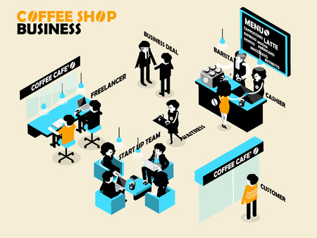 automatic doors: beautiful isometric design concept of coffee cafe and people are working in their place Illustration