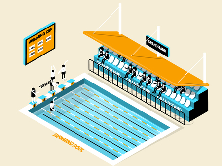 grandstand: beautiful isometric design of swimming pool, grandstand, swimmer and score board,swimming pool isometric design Illustration