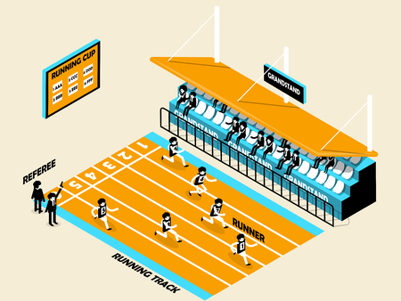 athletics: beautiful isometric design of athletics, running track, grandstand, runner and referee, athletics isometric design