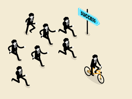 run faster: beautiful concept design of business success in isometric style, business man biking bicycle is ahead of the group of business man those are running follow