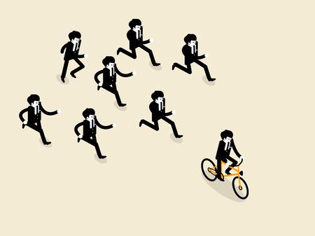 アイソメ図スタイル、ビジネス人自転車に乗る自転車でビジネス成功の美しいコンセプト デザインは先のビジネスの男性のグループそれらは次を実  イラスト・ベクター素材